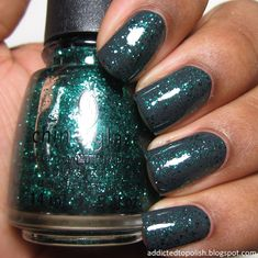China Glaze Pine-ing for Glitter over Out Like a Light | Addicted to Polish