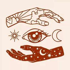 hand and eye simple illustration Kunst Tattoos, Body Art Tattoos, Sleeve Tattoos, Tatoos, Tattoo Sleeves, Tattoo Art, Hand Tattoos, Inspiration Art, Art Inspo