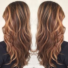Brown hair color, caramel highlights, caramel balayage, warm brown hair, natural hair color, hair painting