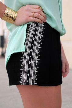 Black Aztec Embroidered Shorts | UOIOnline.com: Women's Clothing Boutique