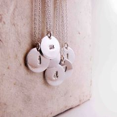 Double Pendant Silver Initial Necklace