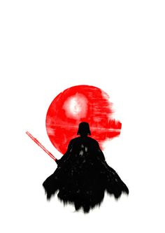 Shows the contrast between a light background and a dark center of the photo...draws you attention to Darth Vader and the Death Star