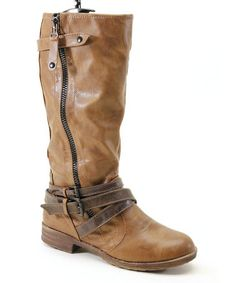 Take a look at this Brown Low Heel Zipper Boot by Summer Rio on #zulily today!
