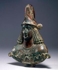 Late Roman Bronze Bust of a Priest with Silver Inlaid Eyes, 3rd-4th century