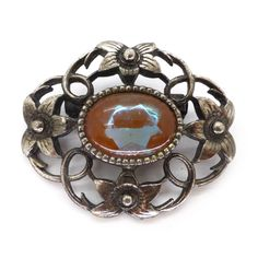 Image of Vintage 1940s Saphiret Glass Floral Silver Tone Brooch