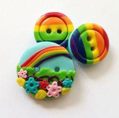 Rainbow buttons , polymer clay, handmade, craft buttons (set of 3)