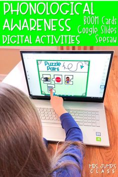 Kindergarten and first-grade students practice rhyming, syllables, onset & rime, sounds, and more with these interactive, digital activities. Available as Boom Learning decks, Seesaw activities, and Google Slides! Your students will love these phonological awareness digital activities!