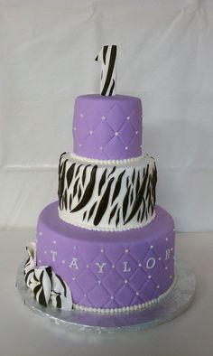 Zebra and Lavendar Birthday Cake