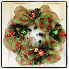 diy christmas wreaths for front door | My first mesh Christmas wreath on my front door! | wreaths