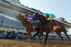 I'll Have Another (9), ridden by Mario Gutierrez, beats Bodemeister, ridden by Mike Smith, to the finish line to win the 137th Preakness Stakes horse race at Pimlico Race Course, Saturday, May 19, 2012, in Baltimore. Photo: AP / AP