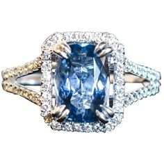 Preowned 2.47 Carat Aquamarine Pave Diamond Ring ($3,195) ❤ liked on Polyvore featuring jewelry, rings, cocktail rings, multiple, preowned rings, pave set diamond ring, statement rings, pre owned rings and pave diamond cocktail ring