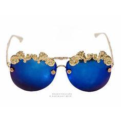 1855c44ee6 Royal Blue Baroque Sunglasses - RegentCouture Large Crystals