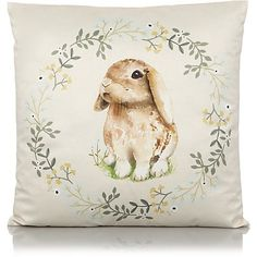 This bunny print cushion from George Home will bring a cosy cottage feel to your home. Soft to touch, it'll make a practical and stylish addition to your liv. Printed Cushions, Asda, Cosy, Moose Art, Bunny, Home And Garden, Teddy Bear, Throw Pillows, Nature