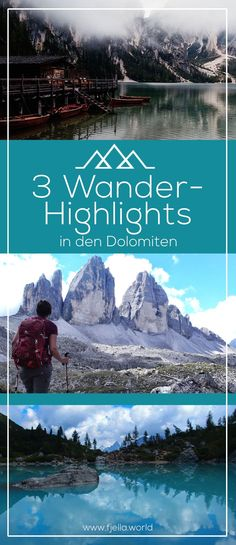 The Dolomites are a dream! Which my 3 hiking highlights you can find out here (plus tour description Hiking Routes, Hiking Europe, Winter Background, Reisen In Europa, South Tyrol, Vacation Destinations, Day Trip, Trekking, Adventure Travel