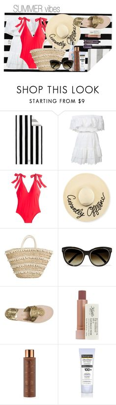 """Summer Vibes"" by preppypolyvoregirl1099 on Polyvore featuring Pottery Barn, LoveShackFancy, J.Crew, Eugenia Kim, Lilly Pulitzer, Chloé, Jack Rogers, Kiehl's, Vita Liberata and Neutrogena"