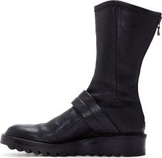 MA Julius Black Calf-High Leather Boots