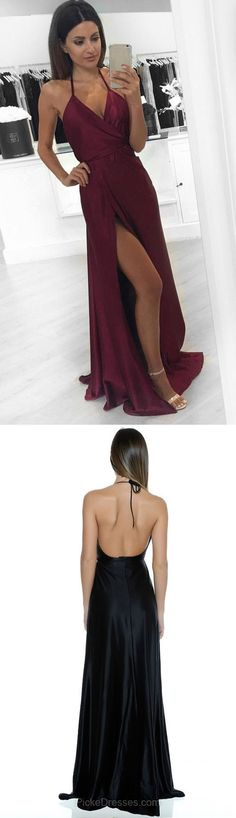 Long Prom Dresses Burgundy, 2018 Prom Dresses For Teens Cheap, V-neck Formal Party Dresses A-line, Silk-like Evening Pageant Dresses Satin with Split Front