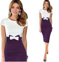 Elegant pencil dresses cotton blend hide hip contrast color bow pencil dresses S-2XL knee length sheath dresses women dresses