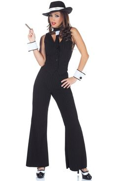 Everyone will beg for mercy in this Bugsy Gangster Lady Costume! You will look deadly and charming in this Gangster Gal Costume featuring blue and black pi Costume Halloween, Gangster Halloween Costumes, Halloween City, Spirit Halloween, Gangster Fancy Dress, Gangster Outfit, Gangster Party, Gangster Gangster, Costume Mafia