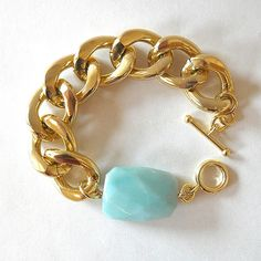 Chunky Gold Bracelet with Amazonite by Oia Jules