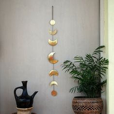 Moon Phases Wall Hanging Brass Wall Decor - Crescent Moon Mobile - Moon Child - Hammered Metal Wall Art