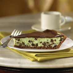 Like popular mint chocolate chip ice cream, this creamy, mint cheesecake is studded with miniature semi-sweet chocolate morsels.