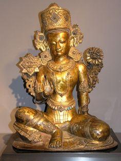 Indra  Kathmandu Valley, Nepal  15th Century  Gilt Copper Repousse with semi-precious stones