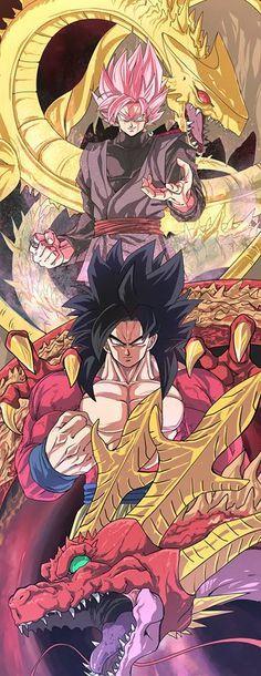 Super Saiyan 4 Goku and Red Shenron vs Super Saiyan Rose Black Goku and Golden Dragon. Dragon Ball Gt, Dbz, Black Goku, Manga Dragon, Anime Comics, Geeks, Akira, Anime Art, Character Design