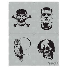 This easy-to-use Halloween 4 Pack Stencil from is perfect for walls, home decor, clothing and more. Each stencil is cut high quality in order to provide a long lasting design. The possibilities of what you can create with a stencil are endless. Halloween 4, Halloween Painting, Halloween Projects, Diy Halloween Decorations, Halloween Cards, Halloween Themes, Halloween Pumpkins, Halloween Pumpkin Carving Stencils, Pumpkin Stencil