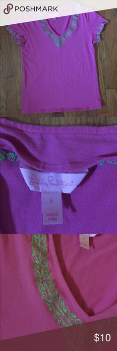 Lilly Pulitzer v neck tee Pink and green embroidered v neck tee from Lilly.  Shirt is in EUC. Lilly Pulitzer Tops