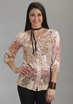 Stetson Womens Pink Cotton Blend 3/4 Sleeve Peasant Tunic Top Burnout