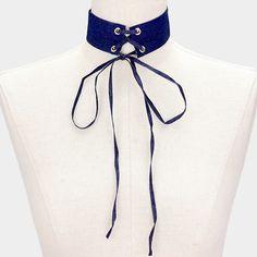 Lace Up Denim Corset Choker Necklace - Dark