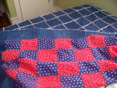 """A step by step guide to making a Denim Rag Quilt. With full size pictures. This particular quilt is 60""""x70"""" in size. And will fit a twin size bed easily, But my husband saw what I was doing and has now claimed the quilt for himself, to use in his Big truck sleeper."""