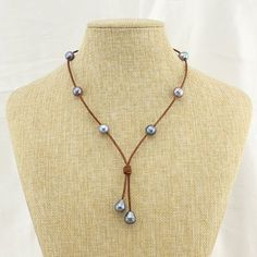 Freshwater Pearl Necklace Handmade Rice and Potato Peacock Blue Pearls,Leather Necklace for Women Jewelry,ETS-S565