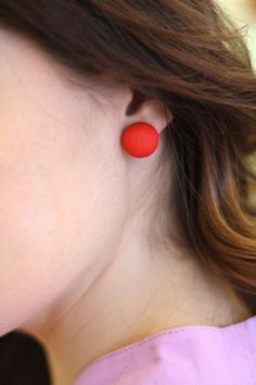 Red Button Earrings - BlueGreenAqua boutique