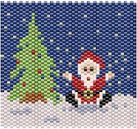 Xmas Tree + Santa Claus Band Motif ___ Peyote Stitch ___ For Sale Here - Etichette: oggetti/objects, solo schemi/only patterns Biglietto di Natale ___ BT45 ___ Eura 4,00 ___ Grafico peyote riga per riga cm 6x6 ___ Le gioie di Happyland - patterns: solo schemi/only patterns