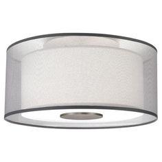 Two Light Steel Drum Shade Semi Flush Mount | House Blend Lighting + Design
