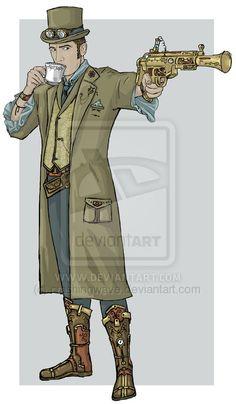 Always time for tea by Laura Crites, ~crashingwave on deviantART - Coat idea for… Steampunk Men, Steampunk Design, Steampunk Costume, Steampunk Fashion, Chernobyl, Cyberpunk, Disneysea Tokyo, Steampunk Characters, Steampunk Festival
