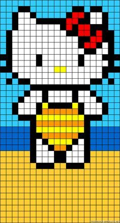 Hello Kitty on the beach perler bead pattern