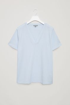 COS image 2 of V-neck cotton t-shirt in Powder Blue