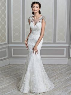 illusion lace neckline fit n flare with beaded cap sleeve and beaded belt