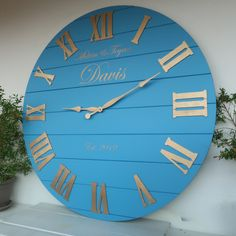 Personalized wall Clock Large wall clock Oversized clock Wedding gifts for couple wi White Wash Walls, Blue Walls, Oversized Clocks, Blue Wall Clocks, Wedding Gifts For Couples, Diy Clock, Large Clock, Couple Gifts, Cleaning Wipes