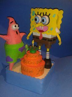 Fofucha de Bob esponja y patricio se van de cumpleaños Elena Cardona
