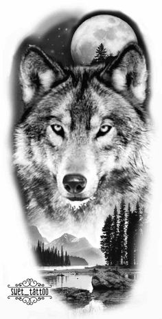 Wolf Tattoo Sleeve, Lion Tattoo, Tattoo Wolf, Chest Tattoo, Sleeve Tattoos, Wolf Tattoo Design, Wolf Photos, Wolf Pictures, Wolf Tattoos Men