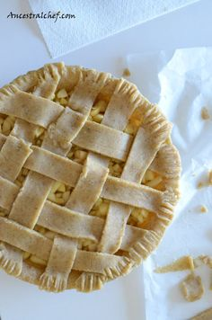 Paleo Apple Pie Lattice (almond flour, chia flour, egg, coco oil, bsoda, vanilla, salt ... apples, coco oil, honey, coco flour, spices, vanilla)