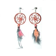 Pretty+Orange+with+Black+Earrings+Set Buy Dream Catcher, Dream Catcher Earrings, Black Earrings, Pearl Earrings, Gold Pearl, Earring Set, Orange, Pretty, Red