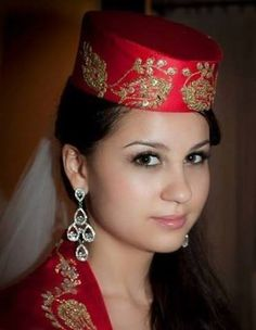 A Tatar girl in traditional costume. from Crimean area