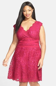 Tadashi Shoji Embroidered Lace Fit & Flare Dress (Plus Size) available at #Nordstrom