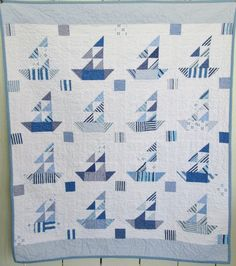 The Regatta Baby Sailboat Quilt in Shades of Blue and White by Dreamy Vintage Sheets on ETSY