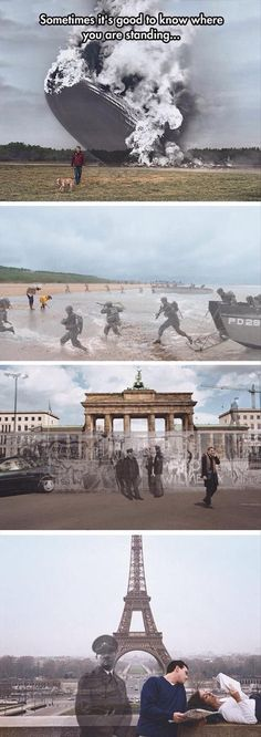 """This is awesome! History Channel """"Know Where You Stand"""" campaign by Seth Taras - Hindenburg at Lakehurst, New Jersey 1937 / D-Day at Normandy Beach 1944 / Berlin Wall at the Brandenburg Gate 1989 / Hitler at the Eiffel Tower, Paris 1940 / 2004 Montage Photo, Picture Day, Interesting History, History Facts, Funny History, History Memes, History Photos, History Channel Meme, World History"""